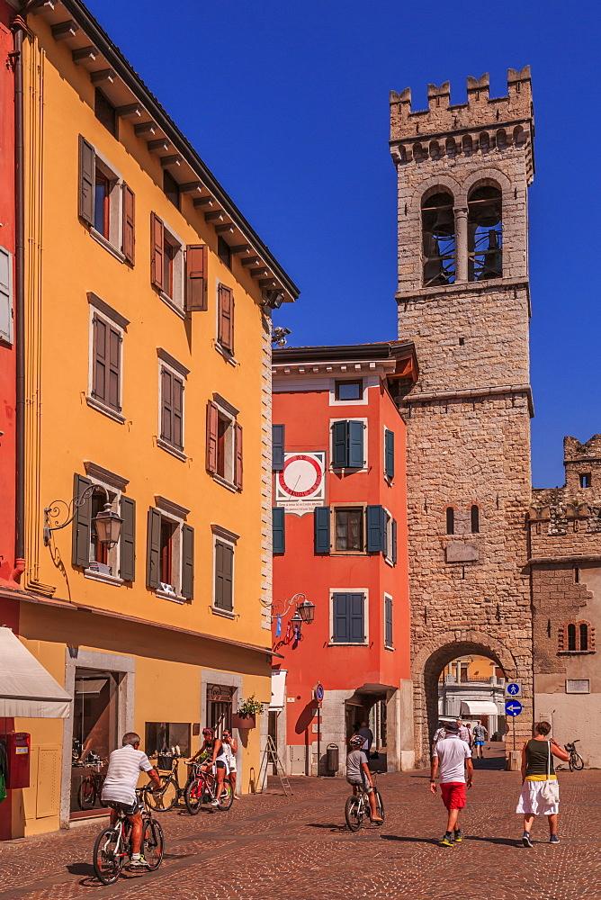 View of Porta di San Michele in Piazza Cavour, Riva del Garda, Lake Garda, Trentino, Italian Lakes, Italy, Europe
