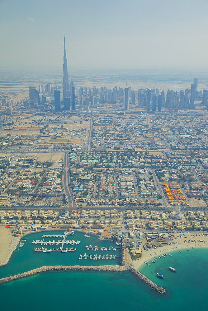 View of city skyline and Dubai Beach from seaplane, Dubai, United Arab Emirates, Middle East