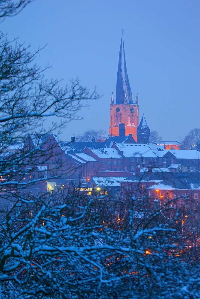 View of town and Crooked Spire Church, Chesterfield, Derbyshire, England, United Kingdom, Europe
