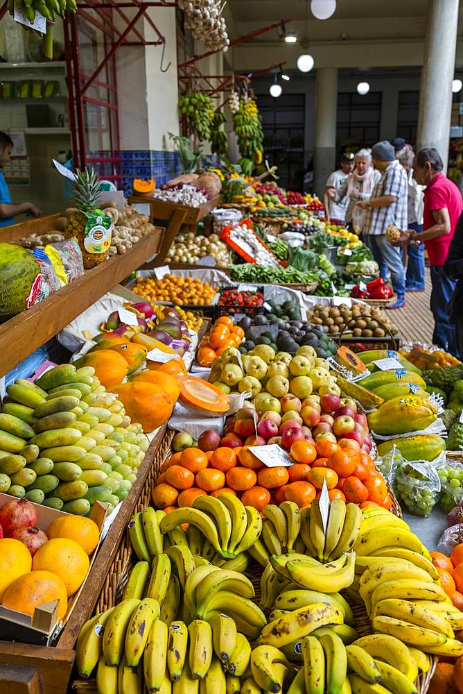 Fresh produce in Mercado Dos Lavradores (Farmers' Market), Funchal, Madeira, Atlantic, Portugal, Europe - 844-16245