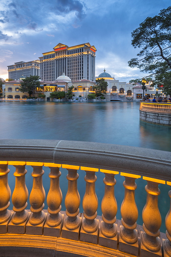 View of Caesars Palace at dusk, The Strip, Las Vegas Boulevard, Las Vegas, Nevada, United States of America, North America