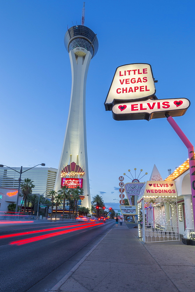View of Little Vegas Chapel and Stratosphere Tower at dusk, The Strip, Las Vegas Boulevard, Las Vegas, Nevada, United States of America, North America