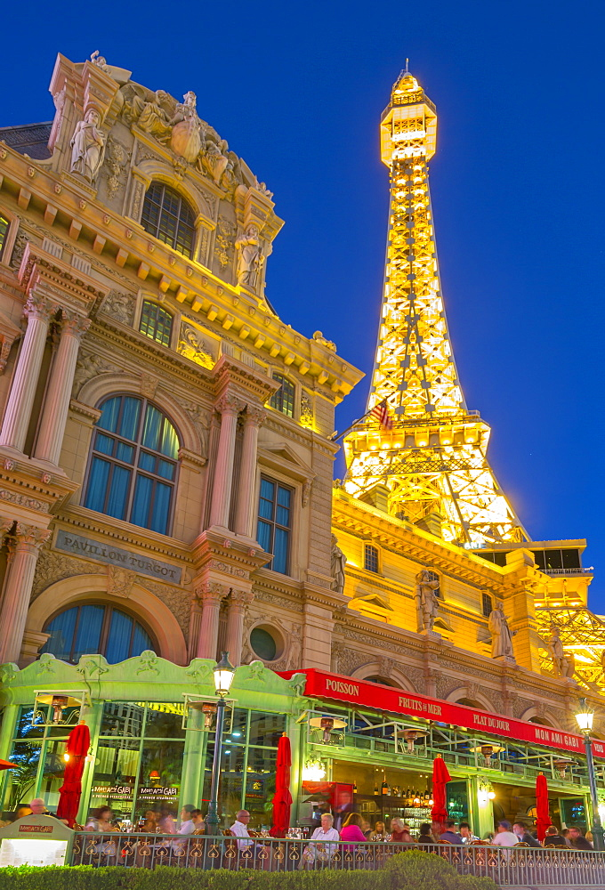View of Eiffel Tower of the Paris Hotel and Casino on The Strip, Las Vegas Boulevard, Las Vegas, Nevada, United States of America, North America