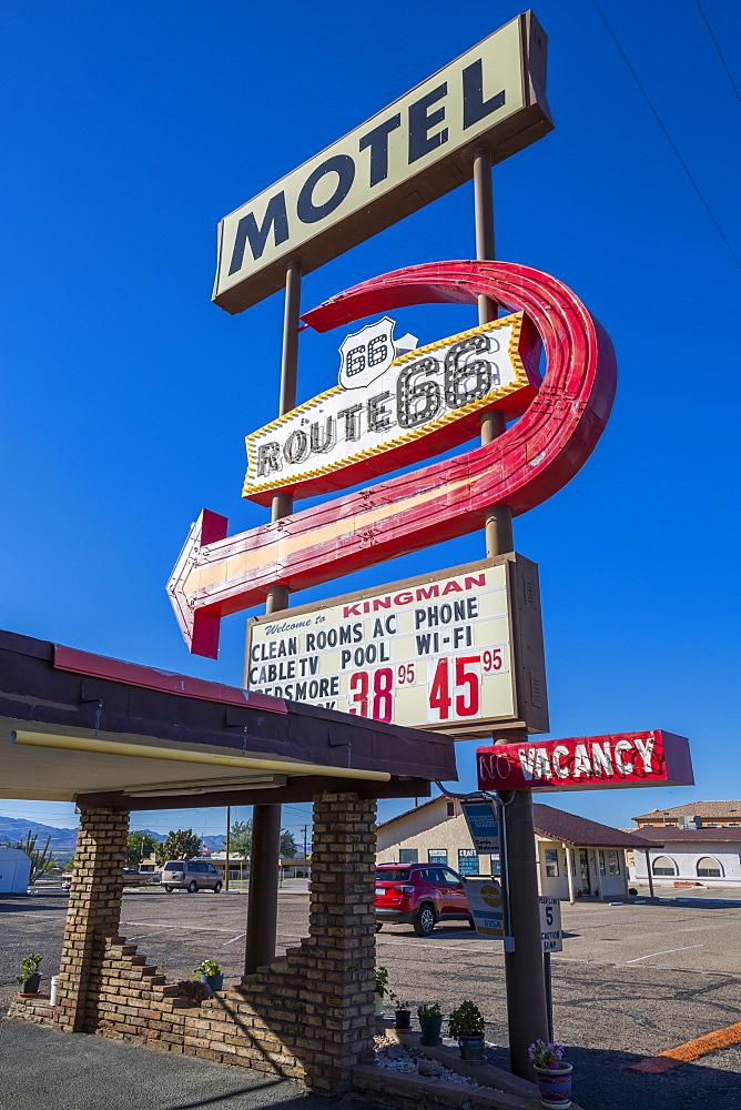 View of motel on Historic Route 66 in Kingman, Arizona, USA, North America