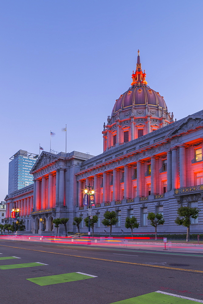 View of San Francisco City Hall illuminated at dusk, San Francisco, California, United States of America, North America