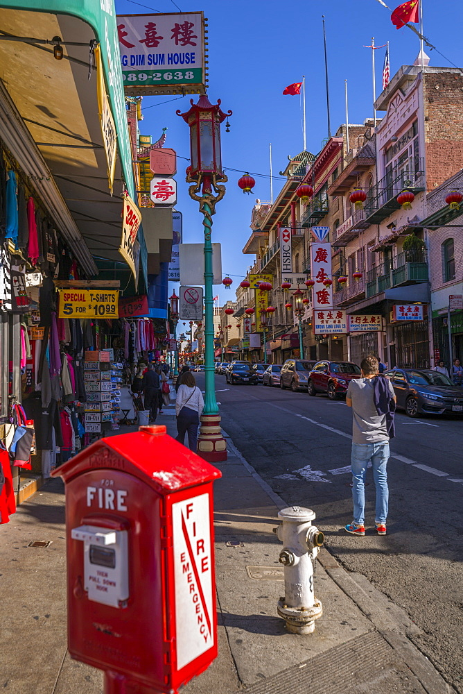 View of traditionally decorated street in Chinatown, San Francisco, California, United States of America, North America - 844-17021