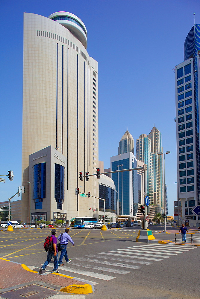 Royal Meridian Hotel and road junction, Abu Dhabi, United Arab Emirates, Middle East