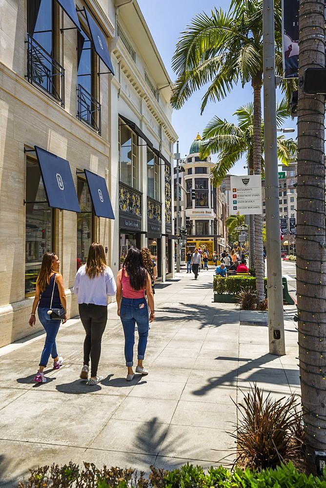 View of Rodeo Drive, Beverly Hills, Los Angeles, California, United States of America, North America