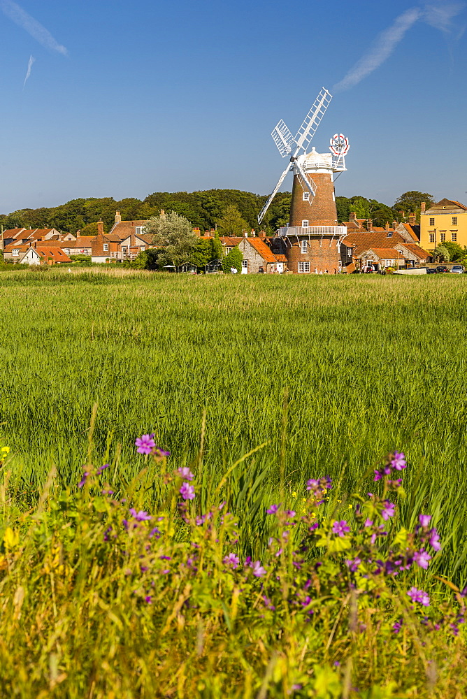 View of Cley Windmill on a summer day, Cley Village, Norfolk, England, United Kingdom, Europe