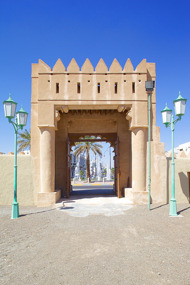 Entrance to Al Murabbaa Heritage Fort, Al Ain, Abu Dhabi, United Arab Emirates, Middle East