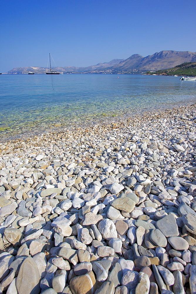 Pebble beach, Cavtat, Dubrovnik Riviera, Dalmatian Coast, Dalmatia, Croatia, Europe