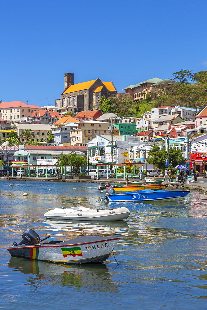 View over the Carenage and Cathedral, St. George's, Grenada, Windward Islands, West Indies, Caribbean, Central America