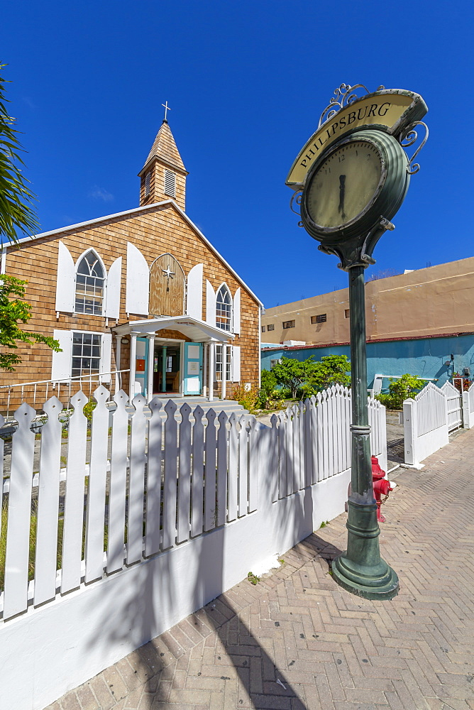 View of Methodist Church on Front Street, Philipsburg, St Maarten, Caribbean, Leeward Islands, West Indies, Central America