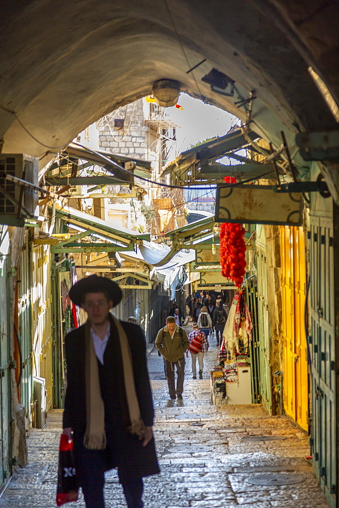 View of street in Old City, Old City, UNESCO World Heritage Site, Jerusalem, Israel, Middle East