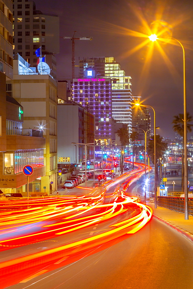 View of traffic and hotels on Hayarkon Street at night, Tel Aviv, Israel, Middle East