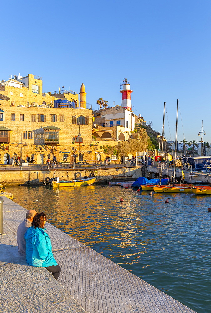 View of Jaffa Old Town harbour at sunset, Tel Aviv, Israel, Middle East