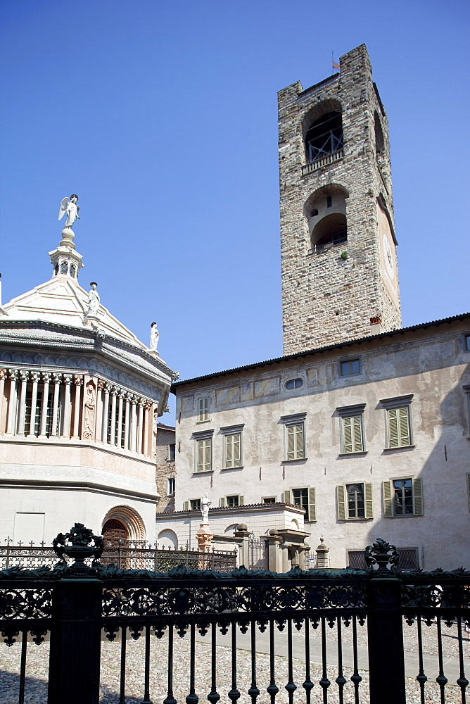 Baptistery and Big Bell Civic Tower, Piazza Vecchia, Bergamo, Lombardy, Italy, Europe