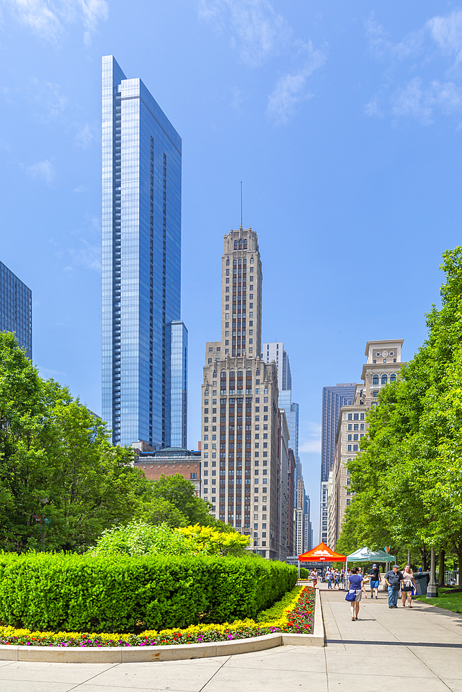 View of skyscrapers from Millenium Park, Downtown Chicago, Illinois, United States of America, North America