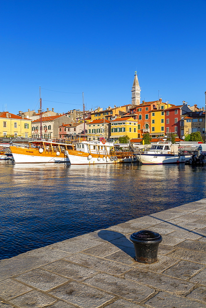 View of harbour and the old town with the Cathedral of St. Euphemia, Rovinj, Istria, Croatia, Adriatic, Europe