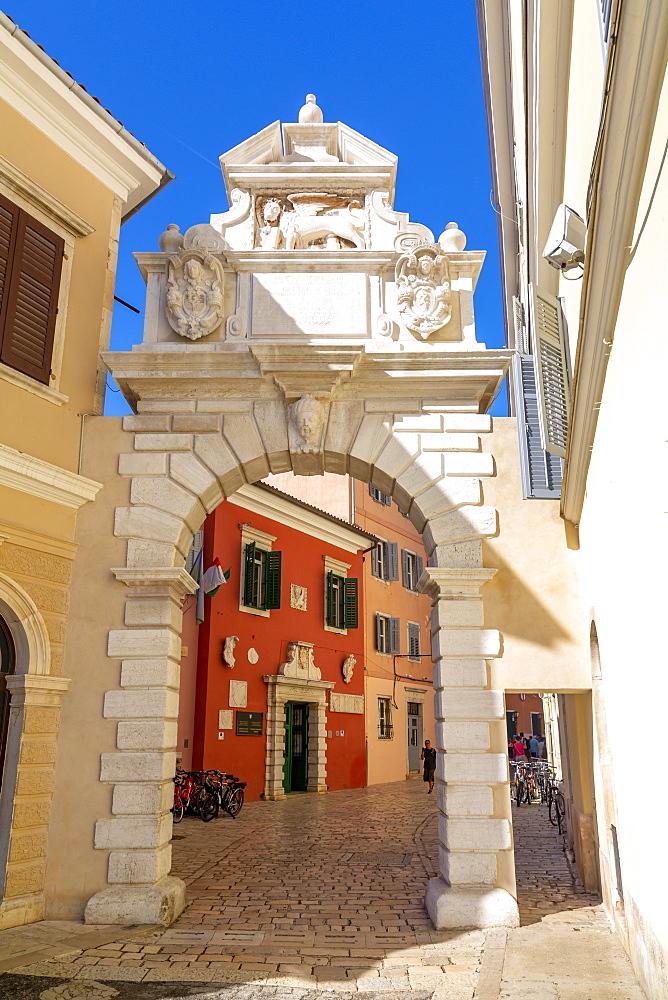 View of Venetian Balbi Gate in the Old Town of Rovinj, Croatian Adriatic Sea, Istria, Croatia, Europe