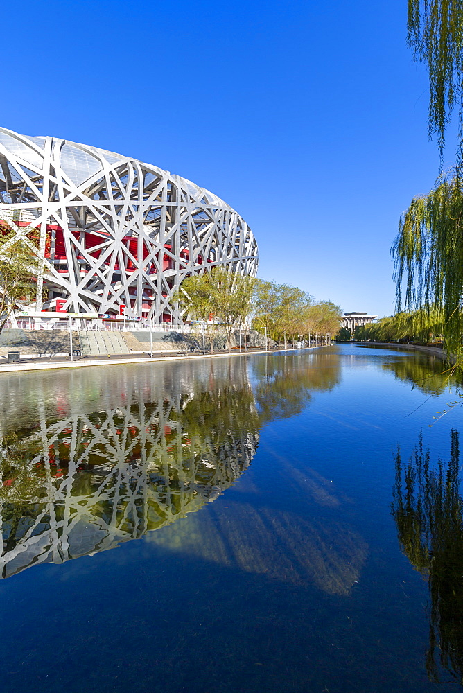 View of the National Stadium 'Bird's Nest' Olympic Green, Xicheng, Beijing, People's Republic of China, Asia - 844-21849