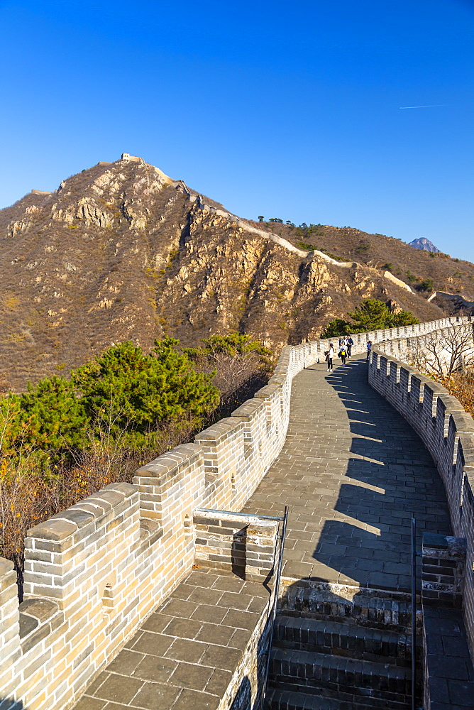 View of Great Wall of China at Huanghua Cheng or Yellow Flower, Xishulyu, Jiuduhe Zhen, Huairou, People's Republic of China, Asia