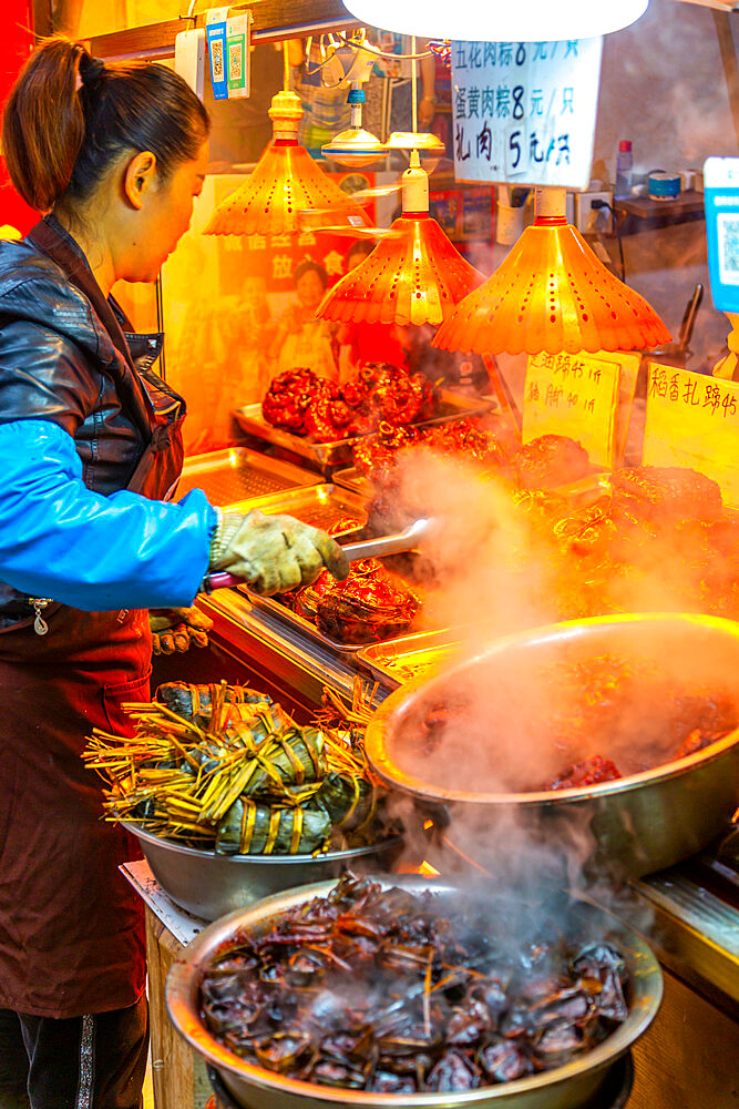 View of local produce stall in Zhujiajiaozhen water town, Qingpu District, Shanghai, China, Asia