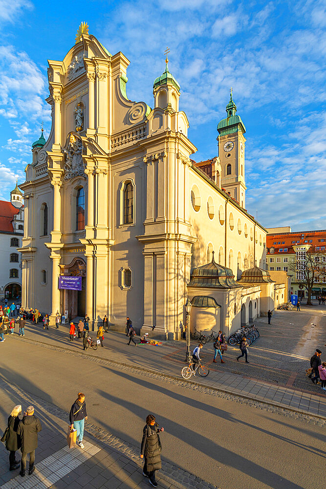 View of the Heiliggeistkirche Church clock tower, Munich, Bavaria, Germany, Europe