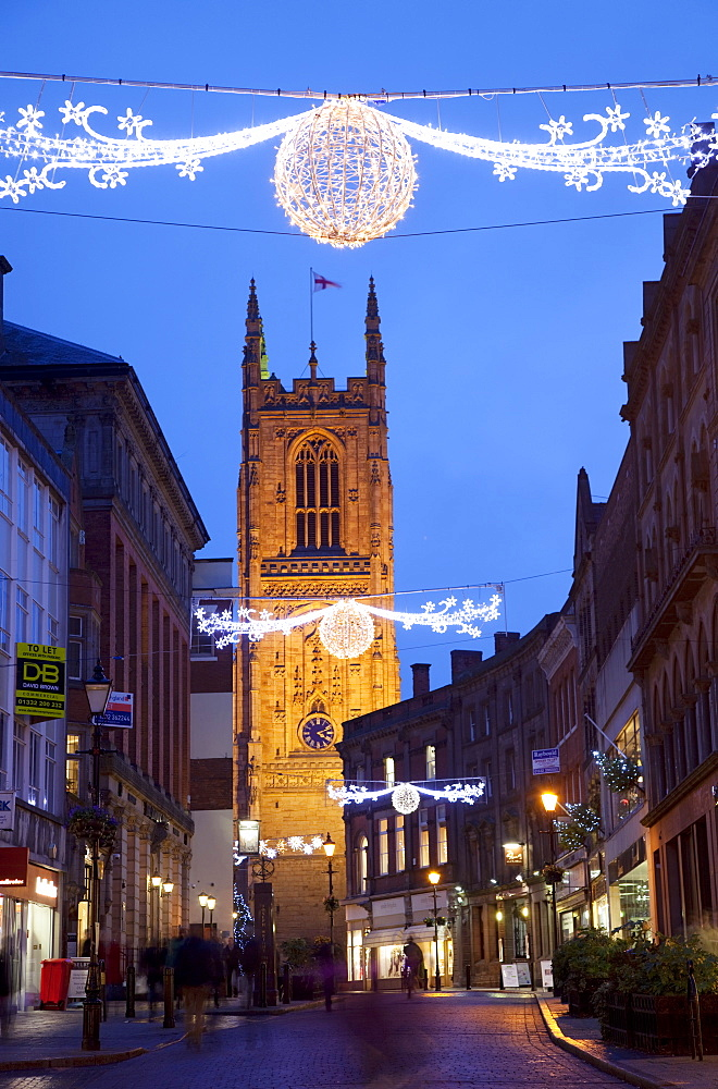 Christmas lights and Cathedral at dusk, Derby, Derbyshire, England, United Kingdom, Europe