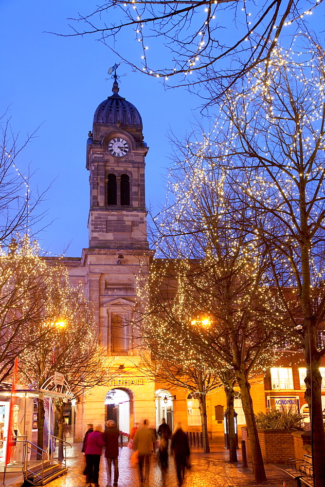 Christmas lights and Guild Hall at dusk, Derby, Derbyshire, England, United Kingdom, Europe