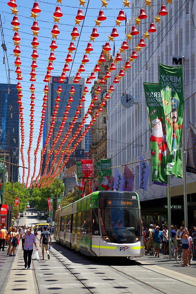 City tram at Christmas, Melbourne, Victoria, Australia, Pacific