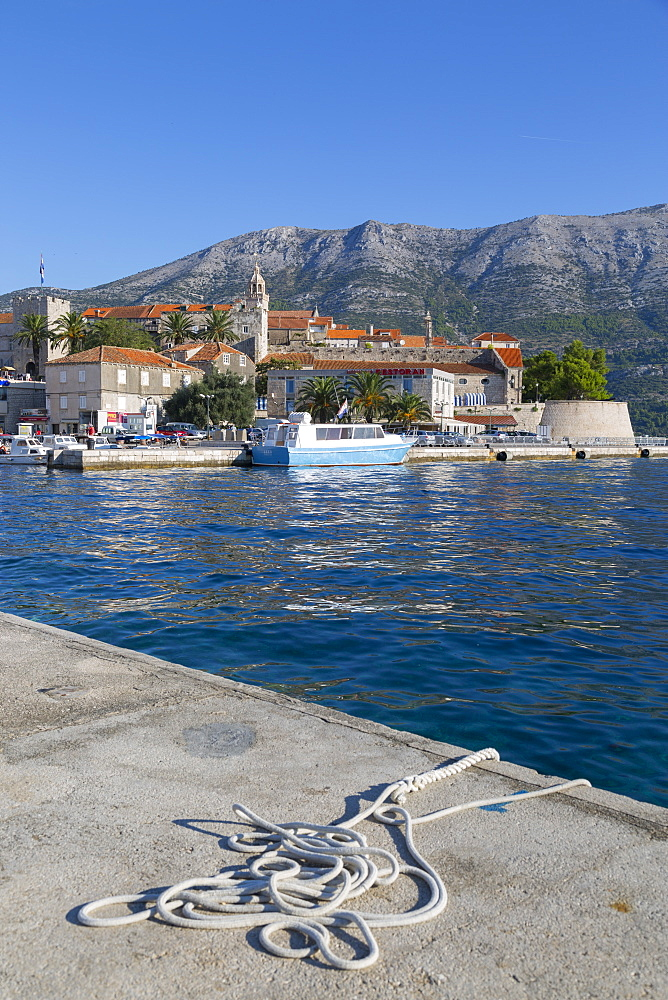 The Harbour and Korcula Town, Korcula, Dalmatia, Croatia, Europe