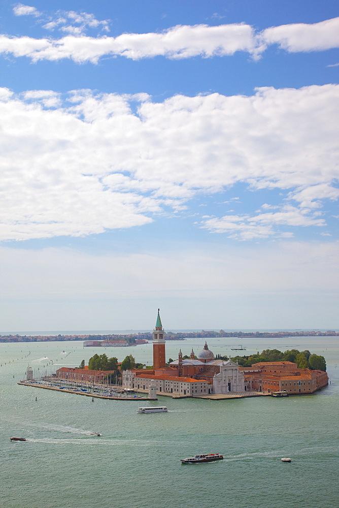 View of Isle of San Giorgio Maggiore from Basilica San Marco from Campanile, Venice, UNESCO World Heritage Site, Veneto, Italy, Europe - 844-976