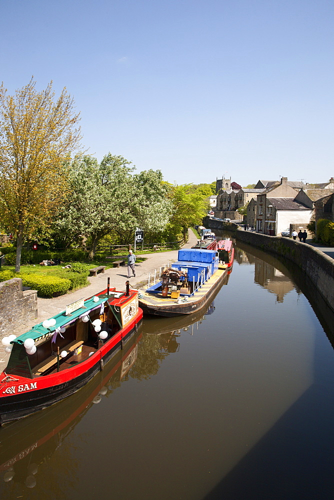 Canal boats on the Springs Branch at Skipton, North Yorkshire, England, United Kingdom, Europe