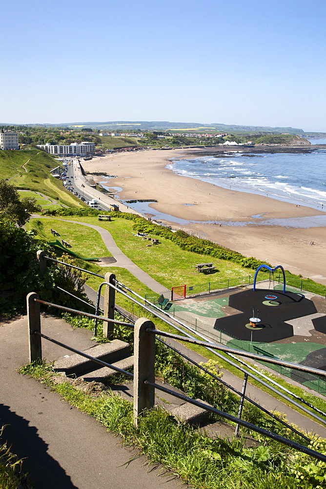 North Sands from Cliff Steps, Scarborough, North Yorkshire, Yorkshire, England, United Kingdom, Europe