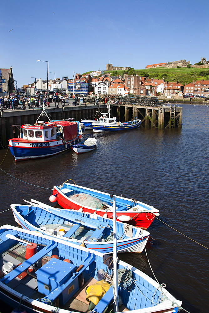 Fising boats in the Upper Harbour, Whitby, North Yorkshire, Yorkshire, England, United Kingdom, Europe