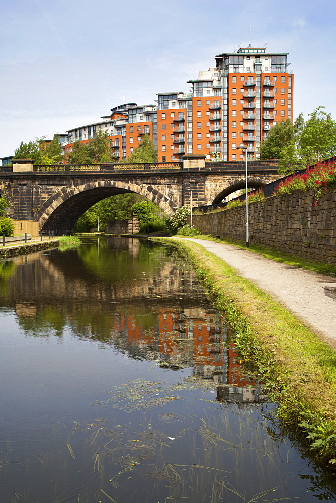 Modern flats by the Leeds and Liverpool Canal in Leeds, West Yorkshire, Yorkshire, England, United Kingdom, Europe