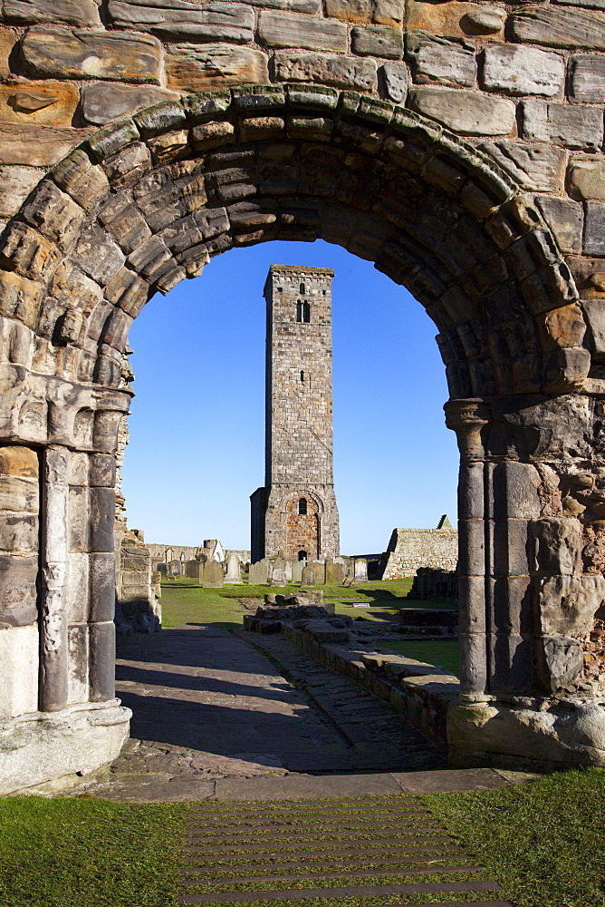 St. Rules Tower at St. Andrews Cathedral, Fife, Scotland, United Kingdom, Europe