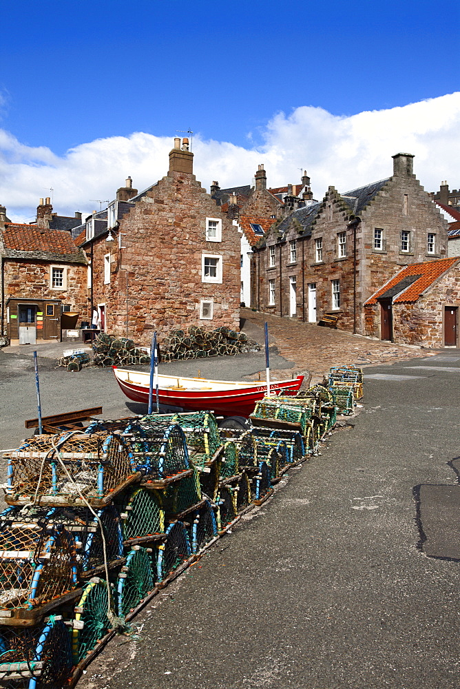 Lobster pots at Crail Harbour, Fife, Scotland, United Kingdom, Europe
