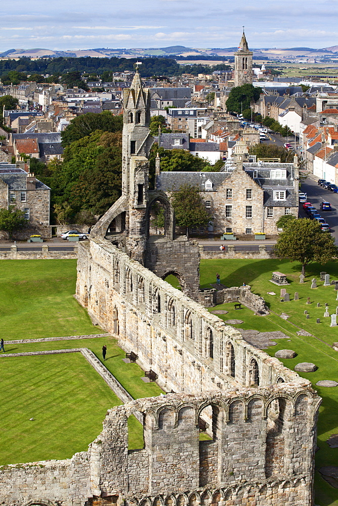 St. Andrews Cathedral from St. Rules Tower, St. Andrews, Fife, Scotland, United Kingdom, Europe