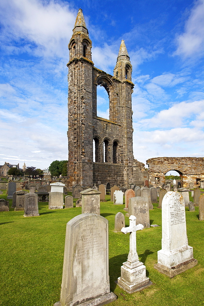 St. Andrews Cathedral ruin and graveyard, St. Andrews, Fife, Scotland, United Kingdom, Europe