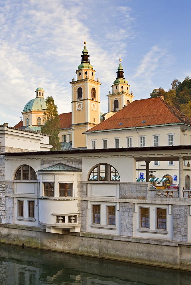 Riverside market halls and the Cathedral of St. Nicholas on the Ljubljanica River, Ljubljana, Slovenia, Europe