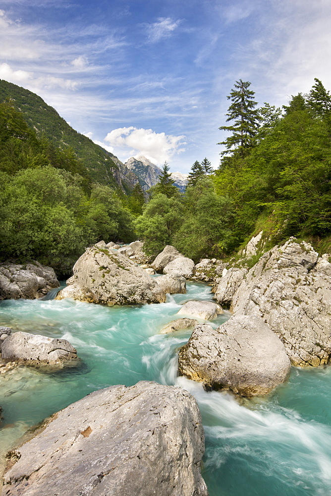 Fast flowing water of the Soca River, Gorenjska, Slovenia, Europe