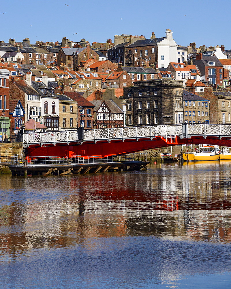The swing bridge on the River Esk, Whitby, North Yorkshire, Yorkshire, England, United Kingdom, Europe - 847-435