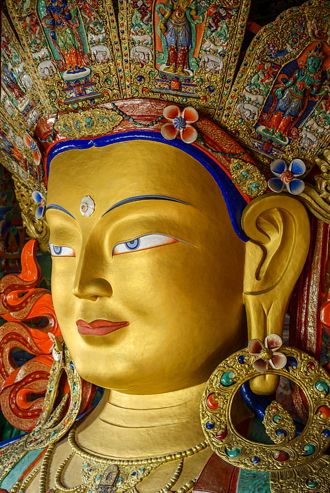 Detail of the statue of the Maitreya (future Buddha) installed to commemorate the visit of the 14th Dalai Lama to the monastery, Thiksey Gompa, Ladakh, Himalayas, India, Asia - 847-454
