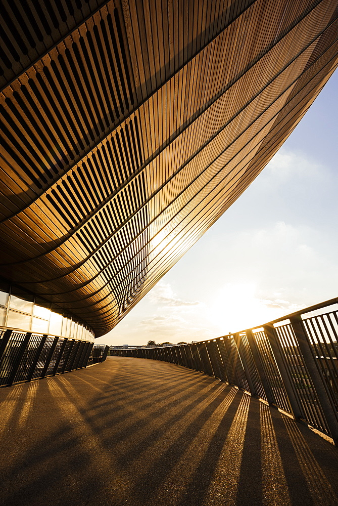 Evening light on exterior of The Velodrome, Queen Elizabeth Olympic Park, Stratford, London, England, United Kingdom, Europe