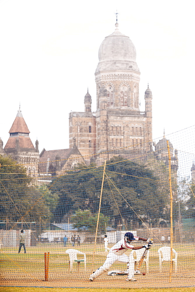 Cricket at Azad Maidan, Mumbai (Bombay), India, South Asia
