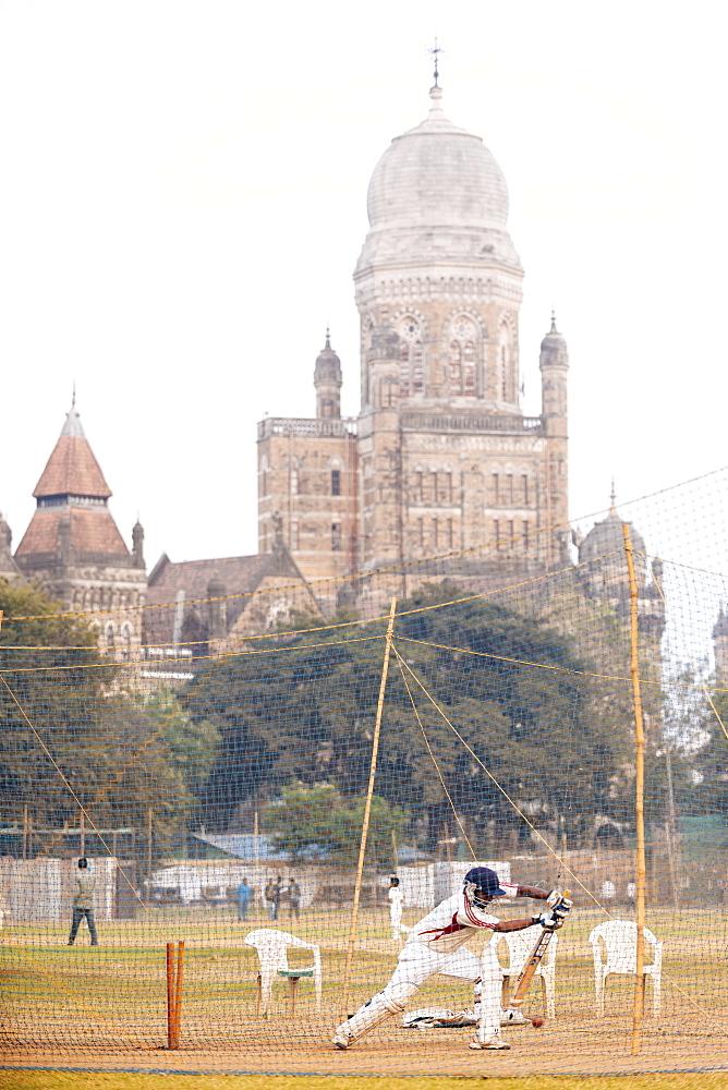 Cricket at Azad Maidan, Mumbai (Bombay), India, South Asia