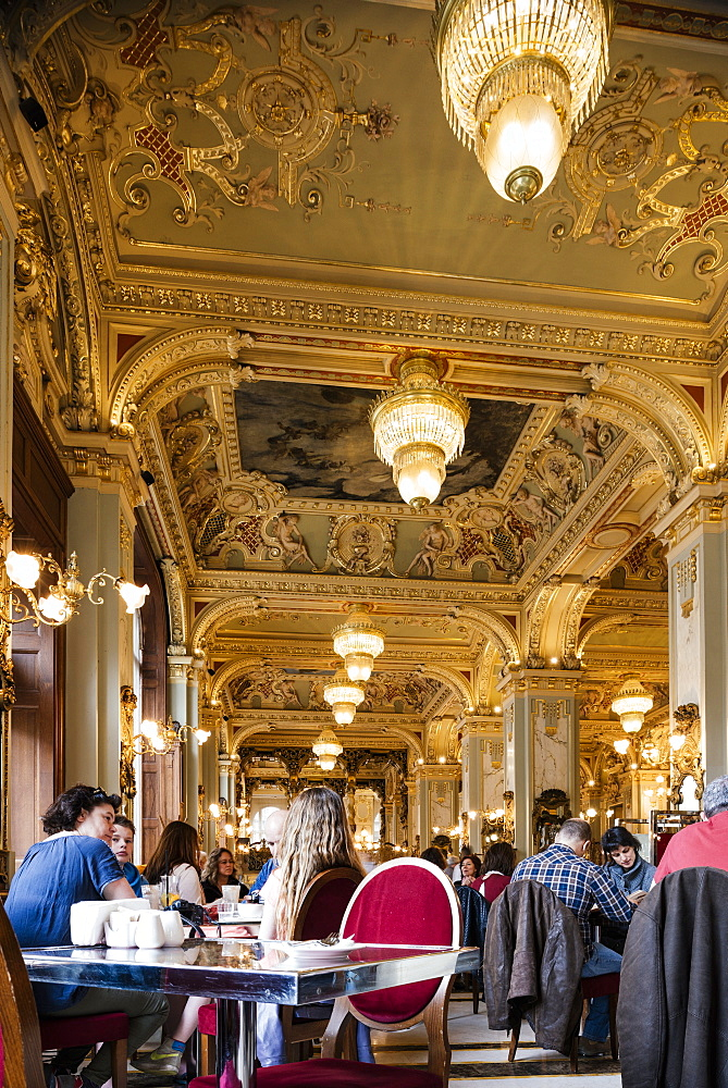 Interior of The New York Kavehaz (Cafe), Budapest, Hungary, Europe