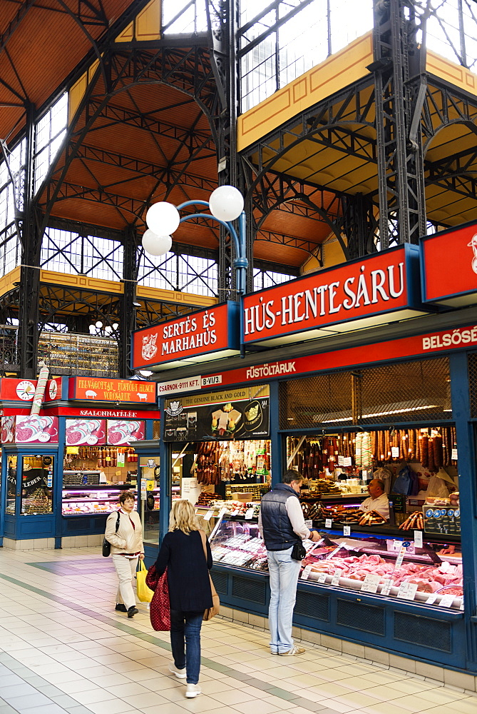 Interior of Central Market Hall, Budapest, Hungary, Europe